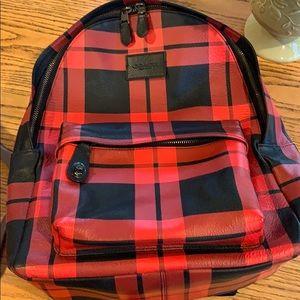 Coach plaid backpack. Leather w canvas. EUC